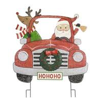 """44"""" Red and White Santa Claus with Deer in Car Christmas Decoration - green"""