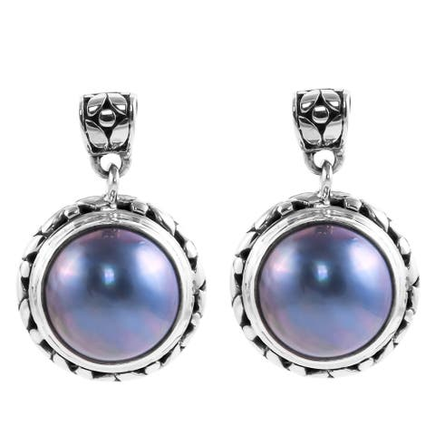Shop LC 925 Sterling Silver Mabe Pearl Dangle Drop Earrings