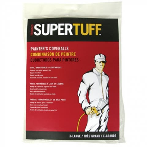 Trimaco 09901 SuperTuff Disposable Coverall, Medium, White
