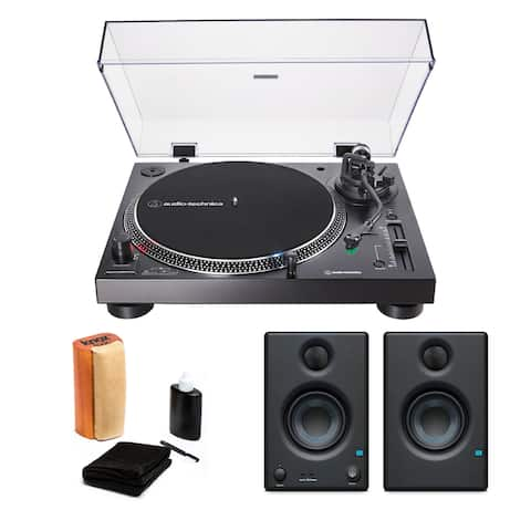 Audio-Technica AT-LP120X-USB Turnable with Monitors and Cleaning Kit