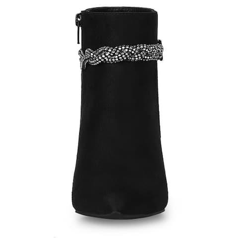Women's Rhinestone Strap Chunky Heel Ankle Boots