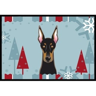 Carolines Treasures BB1741MAT Winter Holiday Doberman Indoor & Outdoor Mat 18 x 27 in.