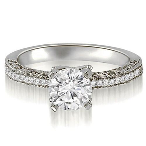 1.15 cttw. 14K White Gold Antique Milgrain Round Cut Diamond Engagement Ring