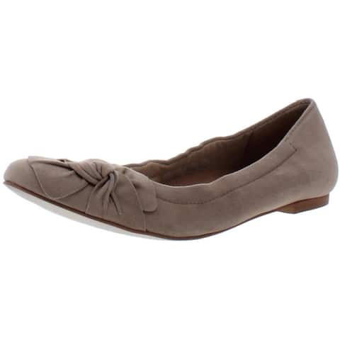 Walking Cradles Womens Brielle Ballet Flats Bow Slip On - Light Taupe Suede