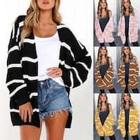 Women'S Striped Cardigan Sweater