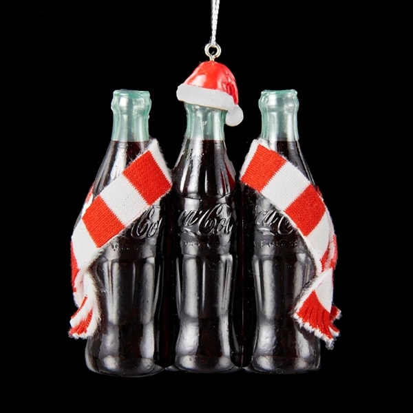 """3.75"""" Coca-Cola® 3 Pack Bottles with Santa Hat and Striped Scarf Ornament"""