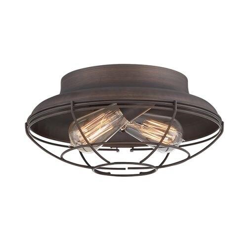 "Millennium Lighting 5382 Neo-Industrial 2 Light 12"" Wide Flush Mount Ceiling Fixture"