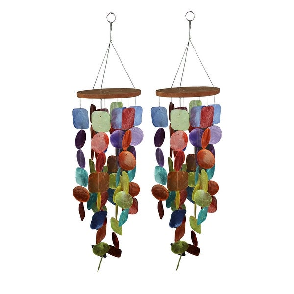 Set of Two 26 Inch Long Capiz Shell Hanging Wind Chimes - 25.75 X 6 X 6 inches
