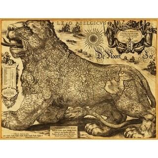 Leo Belgicus of the Netherlands and Belgium - (1611) - Panoramic Map (Acrylic Wall Clock)