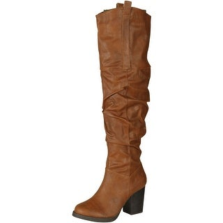 Qupid Rosdale-09 Western Inspired Stacked Heel Slouchy Over The Knee Boot - cognac pu
