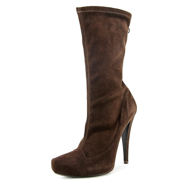 Giorgio Armani XGDF03 Pointed Toe Synthetic Mid Calf Boot