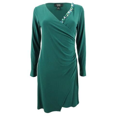 MSK Women's Plus Size Embellished Faux-Wrap Dress (1X, Evergreen) - Evergreen - 1X