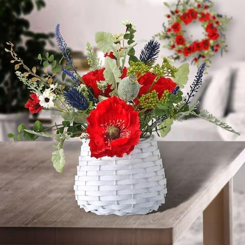"Poppy/Salvia/Daisy In Basket 12"""