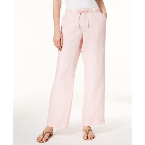 Charter Club Women's Linen Drawstring-Waist Pants Pink Size Small
