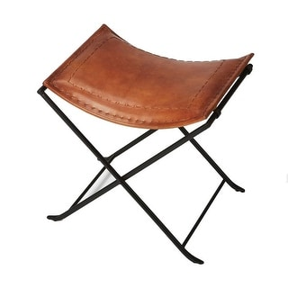 Transitional Rectangular Brown Leather Stool - Medium Brown