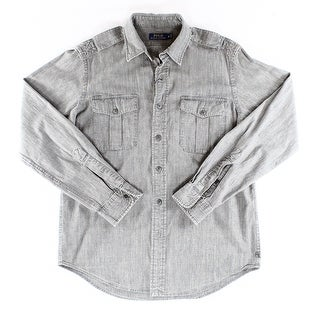 Polo Ralph Lauren NEW Gray Chambray Mens XS Button Down Military Shirt