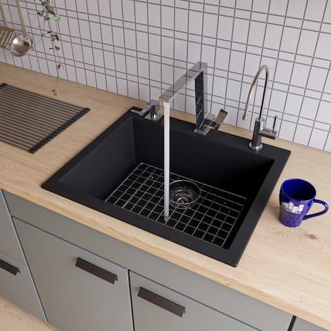 Alfi Black Granite Composite 24-inch Drop-in Single Bowl Kitchen Sink