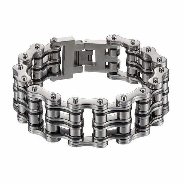 Black White Stainless Steel Bicycle Chain Link Bracelet Mens 24 MM Brand new 8IN