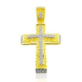 0.85cttw Diamond Cross Pendant Mens 10K yellow Gold 54mm Tall By MidwestJewellery - White