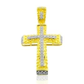 0.85cttw Diamond Cross Pendant Mens 10K yellow Gold 54mm Tall