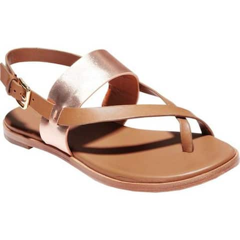 a8f8856fa79 Cole Haan Women s G.Os Anica Thong Sandal Pecan Leather Rose Gold Metallic  Leather