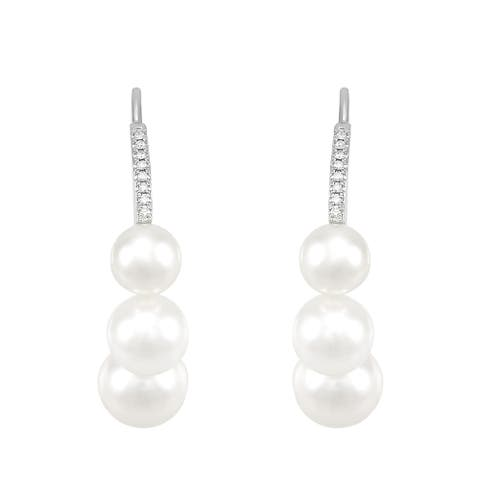 Honora 6-8.5 mm White Freshwater Pearl J-Hoop Earrings with Diamonds in 14K White Gold