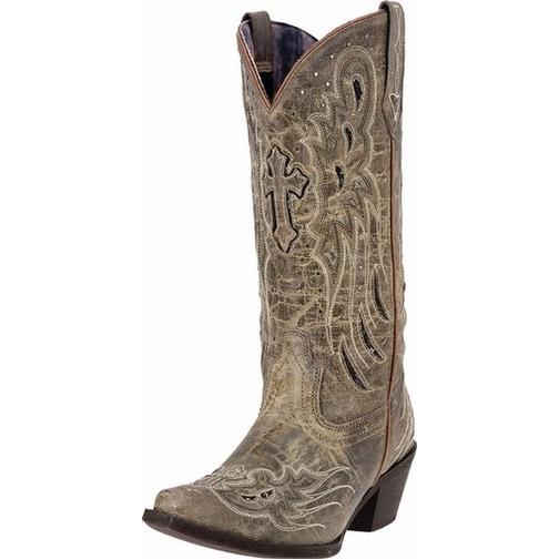 "Laredo Western Boots Womens 12"" Wing Underlay Taupe Black"