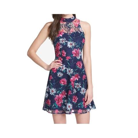 Kensie Blue Womens Size 8 Floral Lace Mock Neck A-Line Dress