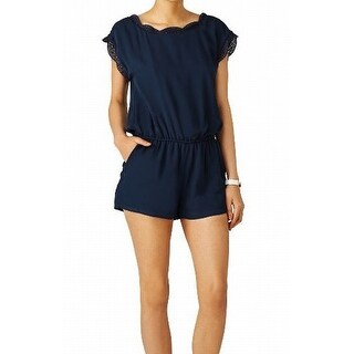 Joie NEW Blue Navy Women's Size Medium M Trim Paolla Silk Romper