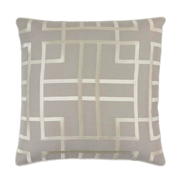 "20"" Haze Gray and Cream Woven Decorative Throw Pillow"