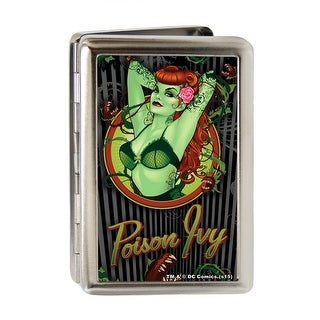 Poison Ivy Bombshell Pose Stripe Fcg Black Gray Greens Reds Business Card Business Card Holder