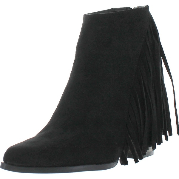 Qupid Tilt-01 Women Pointed Toe Back Zip Side Fringe Stacked Chunky Ankle Bootie
