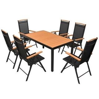 vidaXL Outdoor Dining Set Table Chairs 7 Piece WPC Garden