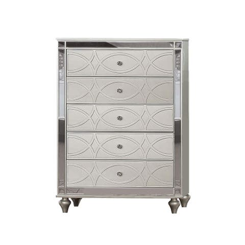 Chest with 5 Drawers and Circular Decorative Pattern, Silver