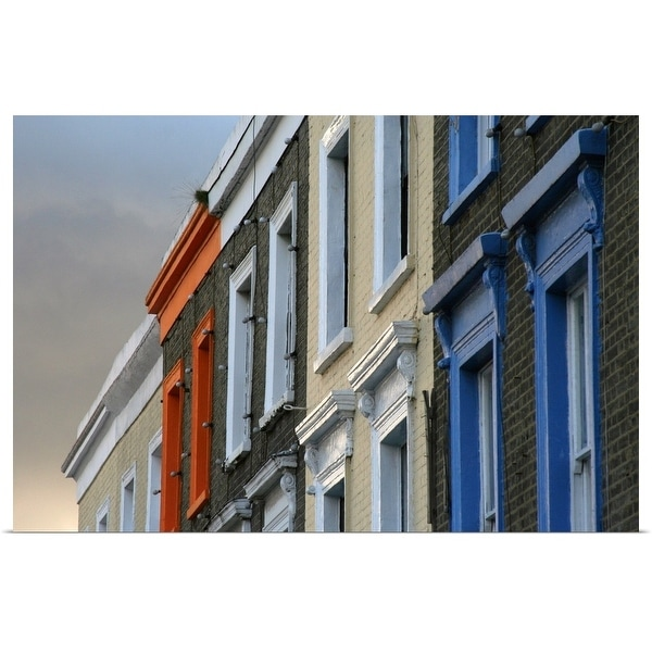 """Painted window frames on series of terraced buildings on Camden High Street in London."" Poster Print"