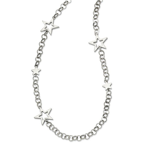 Chisel Stainless Steel Polished Stars 30 Inch Necklace (26 mm) - 30 in