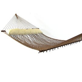 Sunnydaze 2-Person Polyester Rope Hammock with Spreader Bars and Pillow - Hammock Stand Included