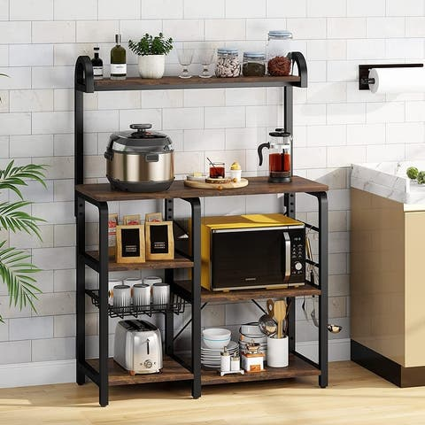 Wooden Kitchen Baker's Rack, Microwave Stand Shelf