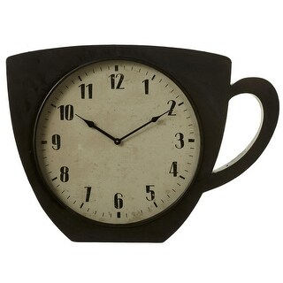 "27.37"" Black and Cream White Coffee Cup-Shaped Decorative Wall Clock"