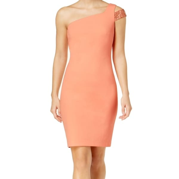 7ed6b580 Shop Calvin Klein Womens Studded One-Shoulder Sheath Dress - On Sale - Free  Shipping Today - Overstock - 27008395