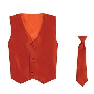 Baby Boys Orange Poly Silk Vest Necktie Special Occasion Set 3-24M