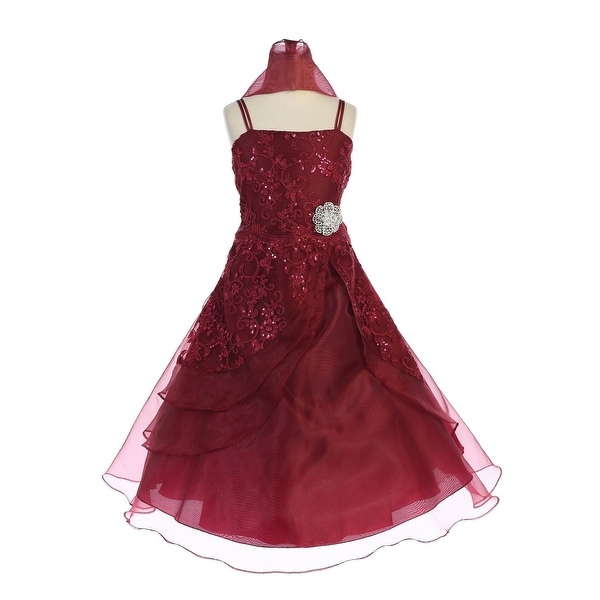 dc11b284d78 Shop TGI Kids Big Girls Burgundy Sequined Organza Lace Junior Bridesmaid  Dress 8-16 - Free Shipping Today - Overstock - 21611187