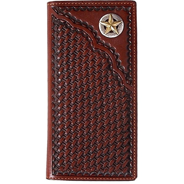 3D Western Wallet Men Leather Rodeo Slots Star Concho Tan - One size