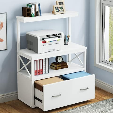 Lateral File Cabinet Filing Cabinet with 1 Large Drawer, Printer Stand with 2 Tier Open Storage Shelves for Office Home