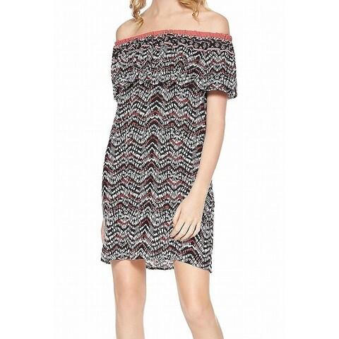 Sanctuary Black Stella Print Women Off-Shoulder Sheath Dress