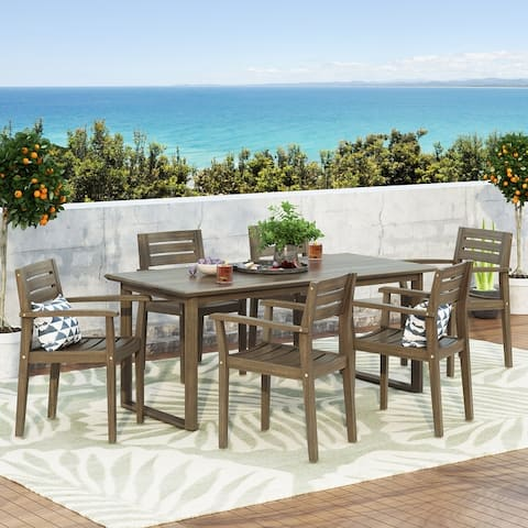 Conifer Outdoor Acacia Wood Outdoor 7 Piece Dining Set by Christopher Knight Home
