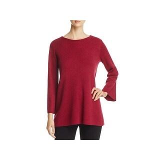 Eileen Fisher Womens Petites Tunic Sweater Merino Wool Bell Sleeve