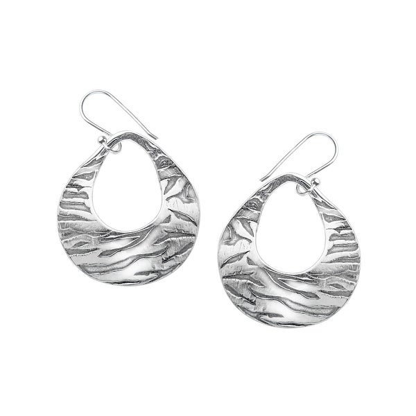 Open Etched Disc Earrings in Sterling Silver - White