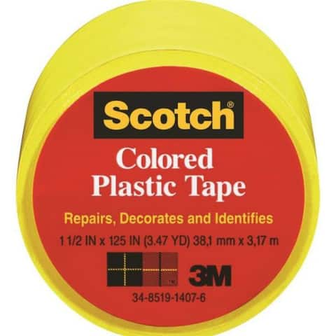 """Scotch 191YL Colored Plastic Tape, 1-1/2"""" x 125"""", Yellow"""