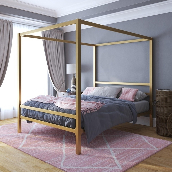 The Curated Nomad Hillard Gold Metal Modern Canopy Bed. Opens flyout.